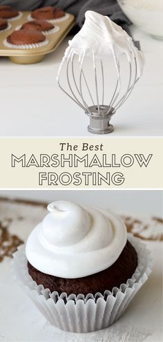 This easy homemade marshmallow frosting tastes just like marshmallow fluff! This recipe is a fun and simple alternative to buttercream, and this step-by-step tutorial will show you how to make perfectly fluffy frosting that doesn't get grainy. Marshmallow Frosting Recipes, Homemade Marshmallow Fluff, Marshmallow Frosting With Fluff, Simple Frosting Recipe, Easy Cupcake Frosting, Fluffy Frosting Recipes, Marshmallow Cupcakes, Homemade Buttercream Frosting, How To Make Frosting