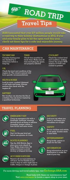 Road trip travel tips from AAA, they know their stuff!
