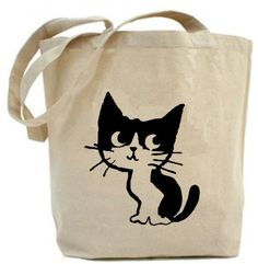 Eco Friendly tote Black Kitty tote Canvas tote bag by PaisleyMagic, $19.99