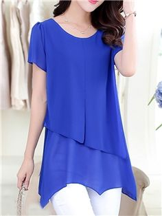 Ericdress Solid Color Casual Asymmetric Blouse