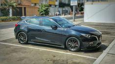 Mazda 3 2016 hb + aerokit + front and side lips + matte black and graphite plasti Dip rims