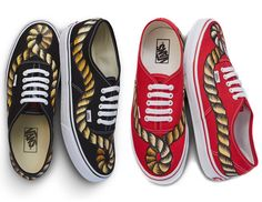 "São Paulo-based brand À La Garçonne has recently linked up with Vans to release two exclusive pairs of Authentic sneakers. The exclusive footwear range boasts two colorway options: deep black and bold red. Each shoe receives a hand-painted rope cord graphic that is adorned on the uppers. The shoes were first seen at the fashion house's most recent ""see now/buy now"" runway show in Brazil. Only 120 pairs of each iteration have been made."