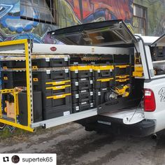 "It's ""tricked out truck Tuesday"". check out this T-stak filled bedslide by ・・・ Truck Bed Storage, Van Storage, Tool Storage, Vehicle Storage, Van Organisation, Trailer Organization, Trailer Storage, Truck Tools, Truck Tool Box"