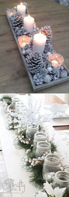 27 gorgeous & easy DIY Thanksgiving and Christmas table decorations & centerpieces! Most can be made in less than 20 minutes, from things you already have! - A Piece of Rainbow diy 27 Gorgeous DIY Thanksgiving & Christmas Table Decorations & Centerpieces Noel Christmas, All Things Christmas, Christmas Ornaments, Simple Christmas, Christmas Candles, Christmas Ideas, Christmas 2019, Christmas Decir, Christmas Music