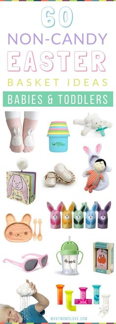 Creative Non Candy Easter Basket Ideas for Babies and Toddlers - includes books, comfort items, learning toys, mealtime and more! Check out the full list at Easter Baskets For Toddlers, Baby Easter Basket, Easter Crafts For Kids, Easter For Babies, Easter Baby, Easter Toys, Easter Gift, Easter Treats, Diy Ostern