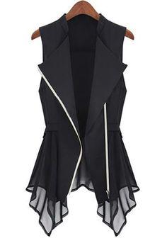 Black Patchwork Lapel Hem Irregular Vest Coat