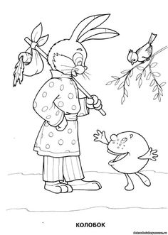 сказка колобок--Russian fairy tale The Gingerbread Man Easter Colouring, Adult Coloring, Coloring Pages, Numbers Preschool, Nursery Rhymes, Embroidery Patterns, Fairy Tales, Bunny, Snoopy