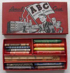 1940s Milton Bradley Crayon Pencil Case.  Remember your ABC's!