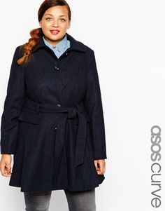 c8dbf2c7116 ASOS CURVE Exclusive Fit   Flare Coat With Belted Waist at asos.com