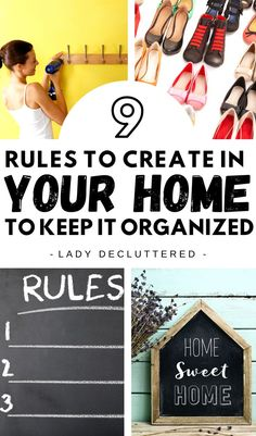 Are you ready to have an organized home all the time? What if all that it took was a few simple rules to follow? These 9 home organization rules are the secrets of the people that always have an organized home. You might be surprised how simple and easy these rules will be to follow. #ladydecluttered #organizedhometips #organizingtipsforthehome #homeorganizationrules #howtokeepyourhomeclutter-free #howtodeclutteryourhome #howtoorganizeyourhome #homeorganizationideas Home Organization Hacks, Organizing Your Home, Organizing Tips, Organisation Ideas, Organising, Decluttering Ideas Feeling Overwhelmed, How To Get Motivated, Declutter Your Life, Home Hacks