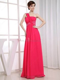 Empire One Shoulder Chiffon Floor-length Ruffles Evening Dresses