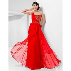 Sheath/Column One Shoulder Floor-length Chiffon And Sequined Evening/Prom Dress – USD $ 129.99
