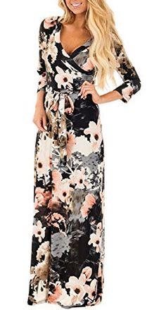 1d030218561 Landove Robe Longue Femme Boheme Manche 3 4 Été Tunique Col V Fleurie  Vintage Chic