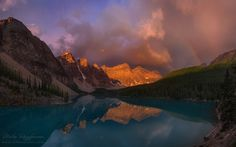 """I'm aware that this is a cliche spot, but simply can not stop processing panoramas from the incredible morning that we have experienced during our """"Icefields Parkway"""" photo-tour... July 2015. 5 frames panoramic capture ---- Visit <a href=""""http://www.worldphototravels.com"""">WorldPhotoTravels.com</a> for our expeditions schedule or <a href=""""https://www.facebook.com/mikereyfman?ref=hl""""> follow me on Facebook</a>  for latest updates and photos."""