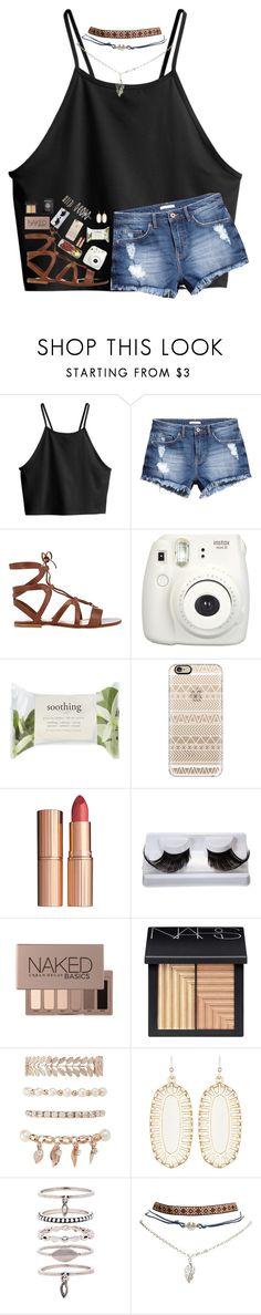 """c o a c h e l l a"" by lindsaygreys ❤ liked on Polyvore featuring H&M, Gianvito Rossi, Fujifilm, Forever 21, Casetify, Charlotte Tilbury, Urban Decay, NARS Cosmetics, Charlotte Russe and Kendra Scott"