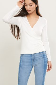 Comfy + sexy Long Sleeve Knit Wrap Top