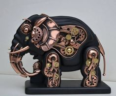 metal sculpture – For Whom the Gear Turns Steampunk Cosplay, Chat Steampunk, Steampunk Kunst, Style Steampunk, Steampunk Gadgets, Steampunk Design, Steampunk Fashion, Steampunk Animals, Art Nouveau