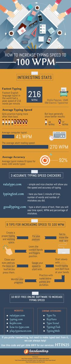 Learn from these typing tips and increase your typing speed in the shortest time possible. See more http://www.handwriting2text.com/how-to-increase-typing-speed-to-100-wpm/