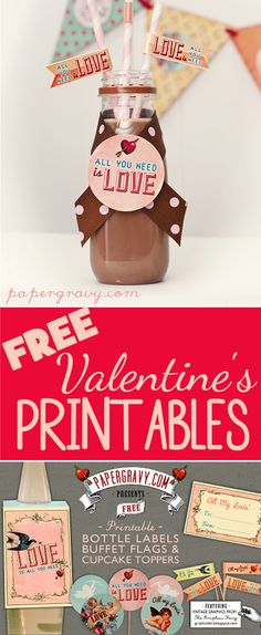Valentine Printables – Labels – Flags – Cupcake Toppers!