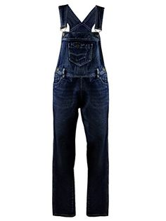 4700f7983762ac Anna-Kaci Womens Vintage Wash Straight Leg Denim Overalls with Pocket Bib,  Indigo, X-Large/XX-Large