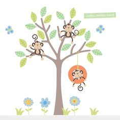 Cheeky Monkey Swing Tree Wall Stickers