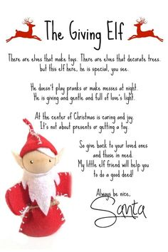 The Giving Elves - A Christmas Tradition!  Sharing the story behind the Giving Elves and Free Printable Notes from Santa to encourage giving, love, and kindness throughout the holiday season.