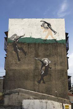 Shadows Give Illusion to Figures Walking on Walls by Anders Gjennestad aka Strøk.|FunPalStudio| Art, artist, artwork,Illustrations, Entertainment, beautiful, creativity, street art, graffiti art, murals, shadow drawings.