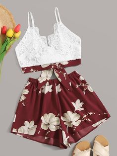 Shein Lace Panel Tie Back Cami Top With Floral Print Shorts Really Cute Outfits, Cute Teen Outfits, Teenage Girl Outfits, Cute Comfy Outfits, Girls Fashion Clothes, Summer Fashion Outfits, Cute Summer Outfits, Swag Outfits, Outfits For Teens