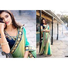 Nakkashi Italian Affair Self-Jacquard Blue Shaded Saree