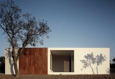 Façade minimaliste-blanc et bois- Manuel Aires Mateus-10