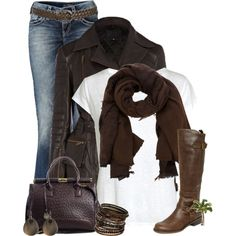 "SILVER JEANS Jeans Bootcut Aiko + Braided Jean Belt + CLAUDIO CUTULI paisley scarf + Nypd Spot Handbag + G by GUESS Women's Hyderi Riding Boots + Brown Etched And Bead Bangles : via ""Brown Hue Entry two"" by cindycook10 on Polyvore"