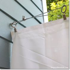 I added DIY porch curtains with shower liners to our cottage. This way, our furniture doesn't get ruined by rain anymore. Here's the super easy tutorial! Porch Privacy, Privacy Curtains, Outdoor Privacy, Diy Curtains, Outdoor Pergola, Pergola Ideas, Shower Curtains, Diy Porch, Diy Patio