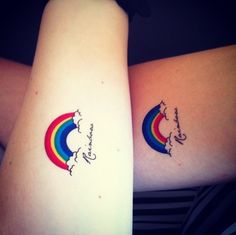 Rainbow tattoo: I'm gonna get something like this except without the words and on my arm up by my elbow