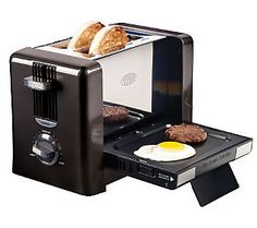 Nostalgia Electrics - Flip-Down Breakfast Toaster - Bring your toasting experience into the future. Toast either a muffin or bagel in the toaster and cook and egg and sausage at the same time with the clever flip-down griddle. Specialty Appliances, Small Appliances, Kitchen Appliances, Kitchen Tools, Kitchen Gadgets, Kitchen Dining, Kitchen Stuff, Kitchen Items, Mini Kitchen
