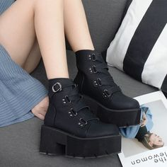 Goth Boots Women Platform Ankle Rubber Sole Buckle Black PU Punk Rock Style Spring Autumn Shoes - Source by - Black Platform Boots, Black Boots, Goth Platform Shoes, Platform Boots Outfit, Goth Boots, Shoe Boots, Women's Shoes, Cute Shoes Boots, Ankle Boots