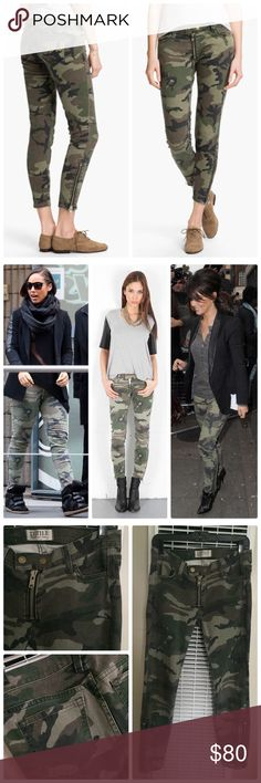 Elizabeth and James Camo Skinny Jeans - Celeb Fav! Celebrity favorite!! A camouflage print takes 4-pocket skinny jeans from wardrobe staple to adventurous statement, while exposed ankle zips glint from the ankles(Pull tabs have been removed from ankle zipper. See pic 4). 2-snap closure and exposed zip fly. Runs true to size  Fabric: Stretch denim. 98% cotton/2% elastane. Wash cold. Made in the USA.  MEASUREMENTS(Approx.) Rise: 8in / 20cm Inseam: 27in / 68.5cm Leg opening: 10in / 25.5cm…