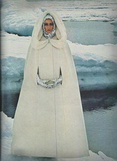 John Cowan: Cape of white silk faille by Ben Reig, Sequin gloves and helmet by Viola Weinberger, Vogue, 1964.