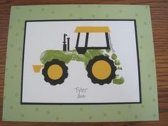 A footprint tractor, perfect for a fan of the John Deere tractors! Cute Crafts, Crafts To Do, Crafts For Kids, Arts And Crafts, Diy Crafts, Toddler Crafts, Projects For Kids, Craft Projects, Stampin Up