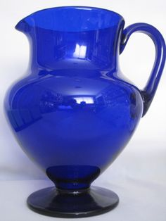 Cobalt Blue Glass Pitcher 8""