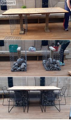 gabion-tableMC3 Backyard Patio Designs, Backyard Landscaping, Backyard Ideas, Contemporary Garden Design, Landscape Design, Modern Design, Fire Pit Seating, Seating Areas, Gabion Baskets