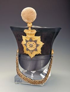 "Bid on Lot Regiment of Foot, Cambridgeshire Regiment Infantry Officer' - This is an Infantry Officer's ""bell top"" shako of the 1828 pattern . Crimean War, Kensington And Chelsea, Brompton, Napoleonic Wars, Black Felt, British Army, Silver Stars, Headgear, Victorian Era"