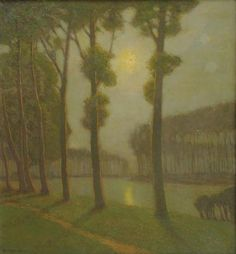 """Morning on the Bruges Canal,"" Charles Warren Eaton, oil on canvas, 30 x 28"", private collection."