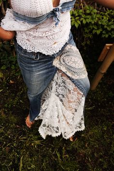 Upcycled Clothing  Jeans to Skirt/Vintage Lace by GipsyGreen