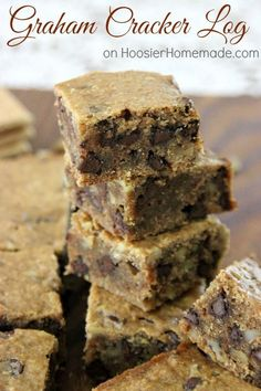 This moist bar cookie is filled with graham cracker crumbs, chocolate chips and nuts. There are few recipes you will find as easy as this Graham Cracker Log. Pin to your Recipe Board!