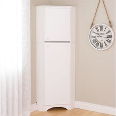 Prepac Elite Tall 2-Door Corner Storage Cabinet, White - Walmart.com