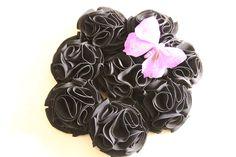 Bouquet ramo de flores de tela en negro y mariposa violeta 606619349 algodondeluna@gmail