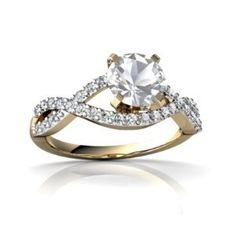 Amazon.com: 14K Yellow Gold Round Genuine White Topaz Engagement Ring: Jewelry