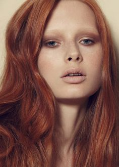 Red hair, natural make up bleached eyebrows