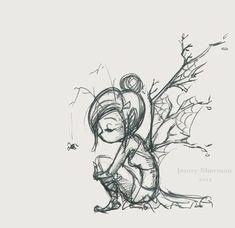 Squash 'n Sketch: Branch Fairy : Jenny Sherman. love this little sketch - Squash 'n Sketch: Branch Fairy : Jenny Sherman… love this little sketch - Fairy Drawings, Fantasy Drawings, Cool Art Drawings, Art Drawings Sketches, Pencil Drawings, Fantasy Art, Fairy Wings Drawing, Elves Fantasy, Elfen Tattoo