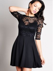 lace splicing backless round collar Half sleeve dress #lace #short #prom #dress www.loveitsomuch.com